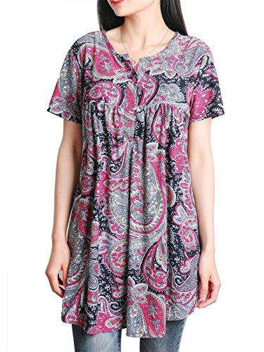 Longues plisse DSUK Manches Tunique Courtes Bouton Rouge Manches Tee Shirt Floral RTnXTtS