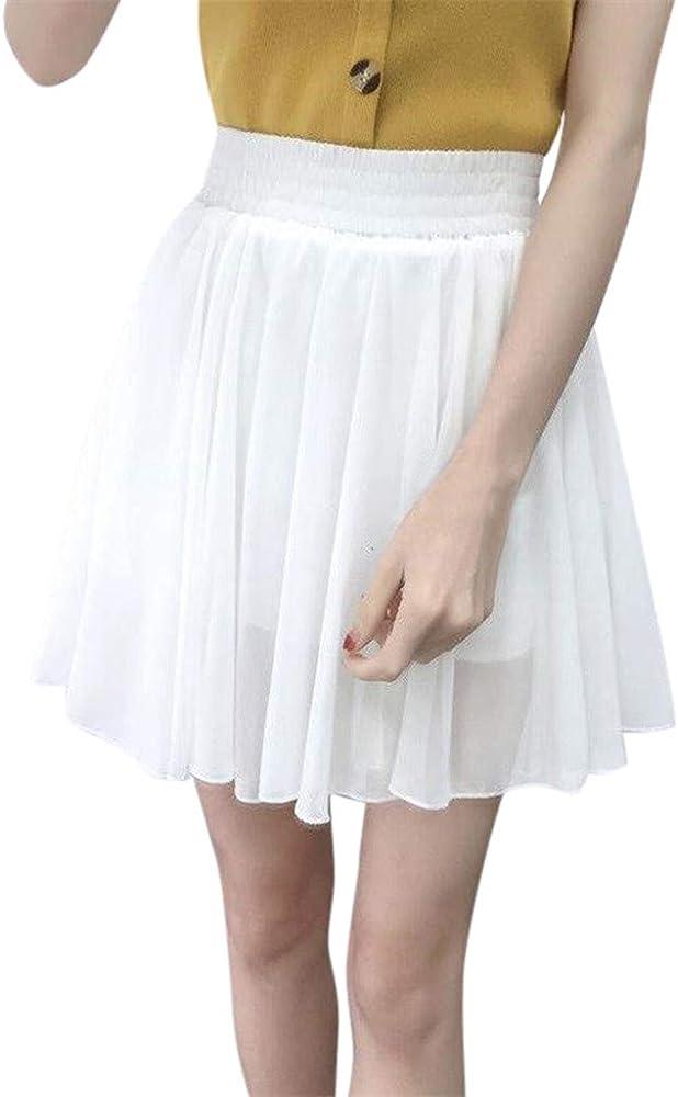 Faldas Mujer Verano Damas Gasa elástica Cintura Alta antirreflejo ...