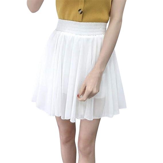 Skang Faldas Mujer Cortas Plisada Básica Cintura Elástica Tul de ...