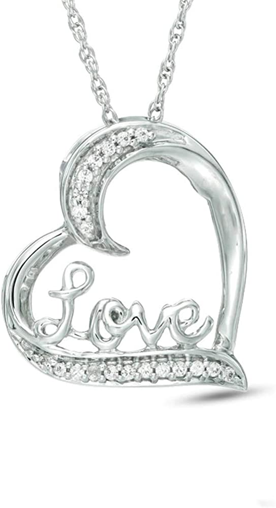 T.W Unstoppable Love 1//10 CT Round Cut D//VVS1 Diamond Tilted Heart withLove Pendant In 925 Sterling Silver