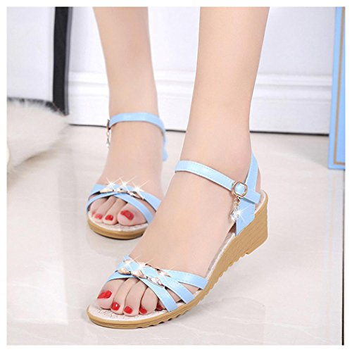 Summer Sandals, Inkach Women Summer Wedge Sandals Slope With Flip Flops Loafers Shoes Blue