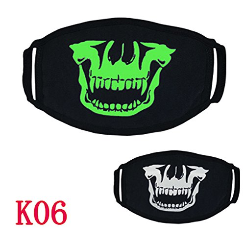 UOKNICE Halloween 26 Styles Black Party Luminous Ghost Skull Half Face Scary Horror Mask
