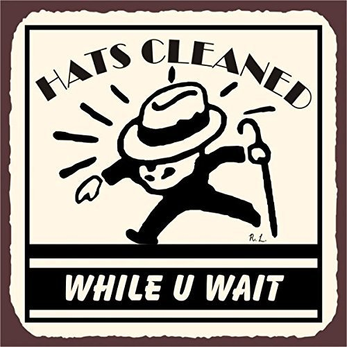 (LSNZ Hats Cleaned Vintage Metal Art Laundry Cleaning Retro Metal Tin Sign 12X12 Inches Square Metal Signs)