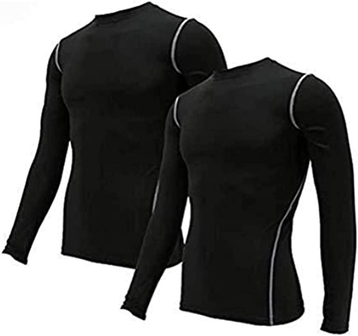 Minghe Men's Compression Shirt Long Sleeve Running Pullover Shirt Athletic Base Layer Workout Tops
