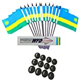 Pack of 12 4''x6'' Rwanda Polyester Miniature Office Desk & Little Table Flags, 1 Dozen 4''x 6'' Rwandan Small Mini Handheld Waving Stick Flags with 12 Flag Bases (Flags with Stands)