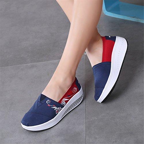 lona nueva de On Zapatos UN Zapatos las Altura Lazy señoras de de Slip de SHINIK Zapatos sacudida Shoes mujer plano tacón de la xwqvgIaWX