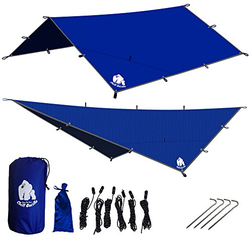 Chill Gorilla 12' Pro Rain Fly Blue, Waterproof Tent Tarp, Hammock Shelter [Essential Camping and Survival Gear] DIAMOND RIPSTOP Nylon 12' x 12'