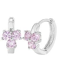 """Rhodium Plated Pink Crystal Huggie Hoop Kids Earrings 0.31"""""""