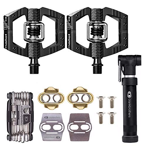 CRANKBROTHERs Crank Brothers Mallet Enduro MTB Mountain Bike Pedals (Black) w/Cleats, M19 Multi Tool and Gem Pump Kit