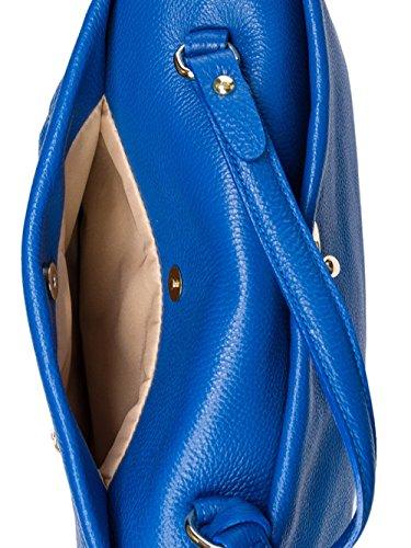 SUPERFLYBAGS Borsa Donna a Mano in Vera Pelle morbida modello Verig Made in Italy Blu elettrico