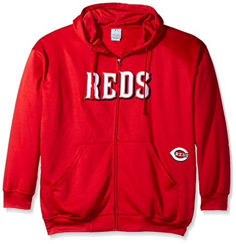 MLB Cincinnati Reds Men's Full Zip Poly Fleece with Wordmark Chest with Logo near Pocket, 4X, Red Red Mlb Sweatshirt