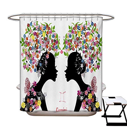 (Zodiac Gemini Shower Curtains Fabric Two Young Ladies Colorful Spring Blossoms Butterflies Fashion Girls Bathroom Decor Set Hooks W48 x L84)