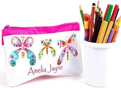 Personalizado estuche, lápiz Casos, vuelta al cole, estuche escolar, diseño de mariposas: Amazon.es: Hogar