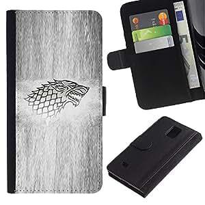 KLONGSHOP // Tirón de la caja Cartera de cuero con ranuras para tarjetas - Lobo Sigil - Samsung Galaxy Note 4 IV //