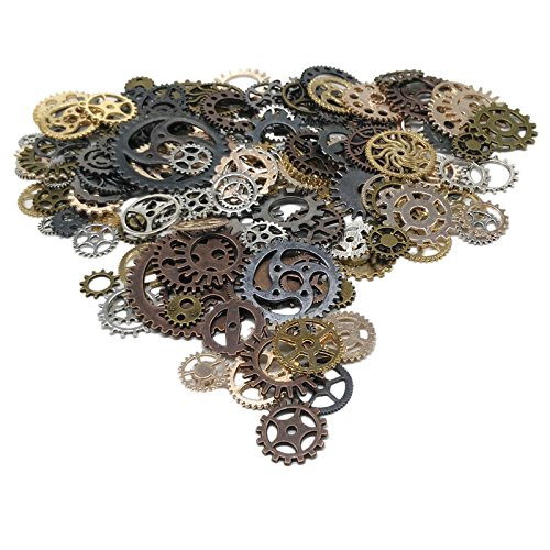 200 Gram (Approx 170pcs) DIY Mixed Color Antique Metal Steampunk Gears Charms Pendant Clock Watch Wheel Gear for Crafting,Jewelry Making Accessory