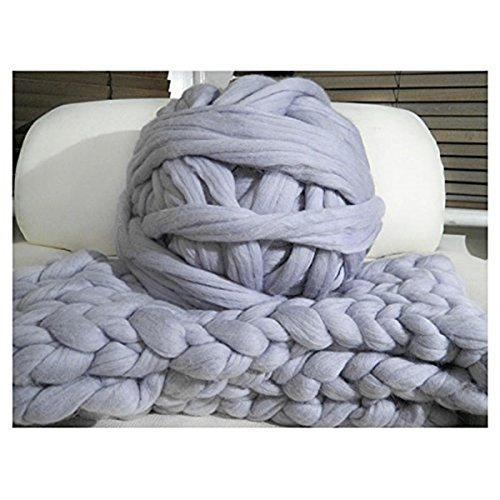 welltree Merino Soft Chunky Blended Wool Yarn For Arm Knitted DIY Favorite Thick Blankets ( Grey - 2.2 lbs )
