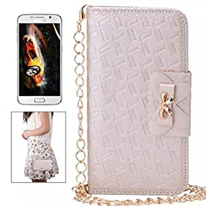Embossed PU Leather Bowknot Card Slot Wallet Chain Shoulder Strap Case Cover Mini Shoulder Bag for Galaxy S6 Champagne