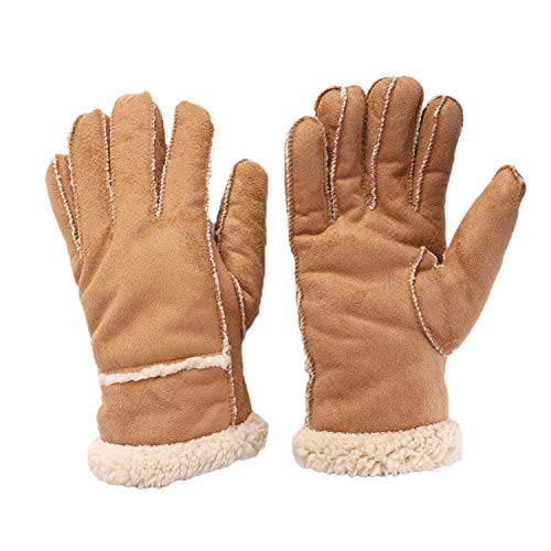 Winter Warm Faux FurGloves Women Men ThermalShearling Leather Mitten Thick Outdoor WindproofCycling Driving ()