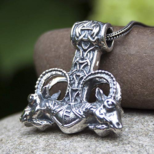 - Lurge Viking Mjolnir Pendant Necklace 925 Sterling Silver Odins Thor Hammer with Thors Goats and Runes Mens Pagan Norse Mythology Jewelry for Men/Handmade Replica