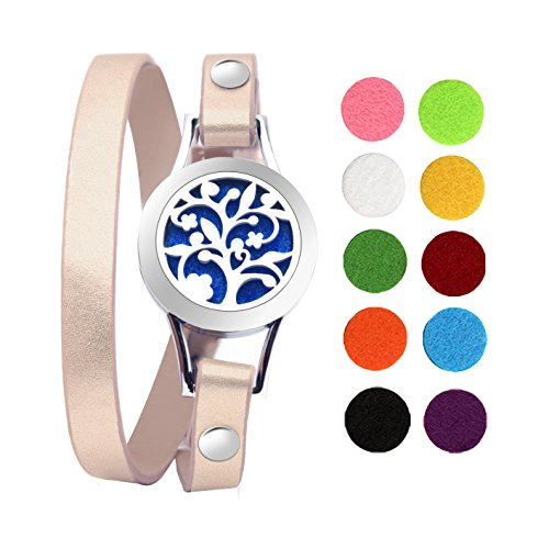 Gouraml Essential Oil Diffuser Bracelet for Women Aromatherapy Anxiety Jewelry Hypo-allergenic 316L Surgical Stainless Steel with Gold Leather Band 10 Different Color Pads Gift Set (Tree Of Life)