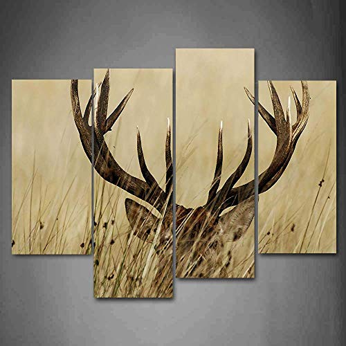 Fawn Canvas - 4 Piece Canvas Print,Contemporary Art, Modern Wall Decor,Whitetail Deer Fawn in Wilderness Stag Countryside Rural Hunting Theme,Giclee Artwork,Print on Canvas Animal The Picture