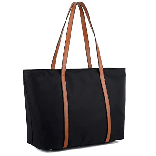 6268dd71a927 YALUXE Tote for Women Leather Nylon Shoulder Bag Women's Oxford Large  Capacity Work fit 15.6 inch