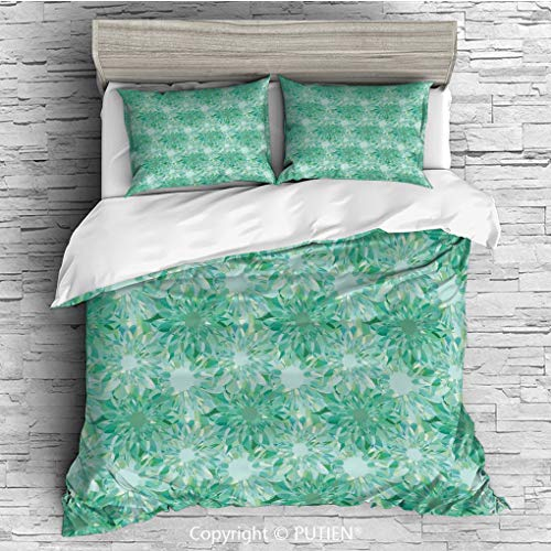 FULL Size Cute 3 Piece Duvet Cover Sets Bedding Set Collection [ Turquoise Decor,Floral Pattern With Beryl Crystal Guilloche Flowers Carving Art Decorating Image Print,Green ] Comforter Cover Set - Guilloche Collection