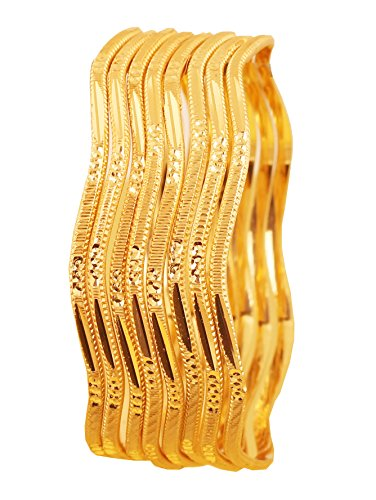 Touchstone New Golden Bangle Collection Indian Bollywood Desire Brass Base Fine Gold Jewelry Style Pretty Zigzag Cut Work Bangle Bracelets Set of 8 in Gold Tone for Women.