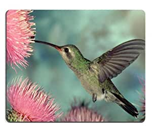 Little Hummingbird Eating Pink Flower Mouse Pads Customized Made to Order Support Ready 9 7/8 Inch (250mm) X 7 7/8 Inch (200mm) X 1/16 Inch (2mm) High Quality Eco Friendly Cloth with Neoprene Rubber MSD Mouse Pad Desktop Mousepad Laptop Mousepads Comfortable Computer Mouse Mat Cute Gaming Mouse pad
