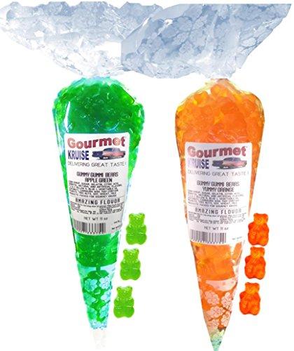 Green Apple And Energy Orange Gummy Gummi Bears (NET WT 22 OZ) Gourmet Kruise Signature Gift Bags