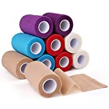Self-adhesive Bandage Wrap Tape by LotFancy, Cohesive Non-Woven, Assorted Colors, 10 Rolls, FDA Approved