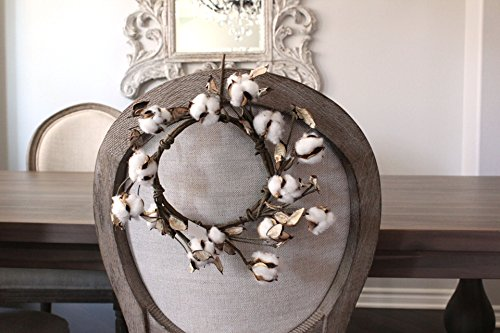 Cotton Boll Wreath Farmhouse Home Decor Made With Natural Cotton (10 Inch) by Silk Road Home