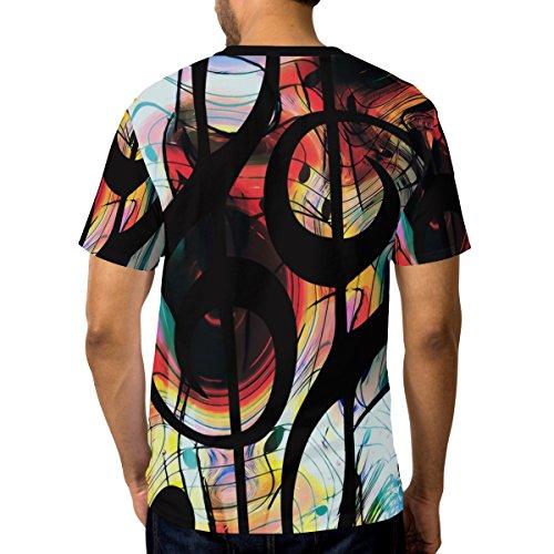 Ras Courtes Cou Shirt Résumé Clefs T Alaza Multicolore Manches Musique Casual Homme Du À wng4x4zqTU