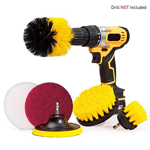 Drill Brush Scrub Pads 6 Piece Power Scrubber Cleaning Kit - Time Saving Kit Cleaner All Purpose Scrubbing Cordless Drill for Cleaning Pool Tile, Sinks, Bathtub, Brick, Ceramic, Marble, Auto, Boat ()