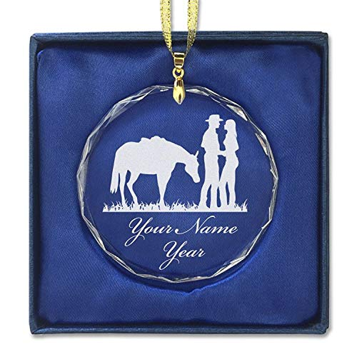 Western Engraving (SkunkWerkz Christmas Ornament, Romantic Country Western, Personalized Engraving Included (Round Shape))