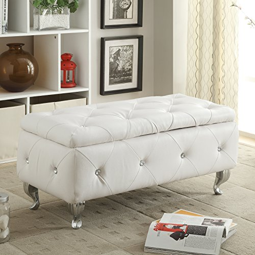 AC Pacific White Crystal Tufted Storage Bench - White Storage Bench