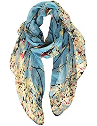 Lightweight Floral Birds Print Shawl Scarf Gifts For Christmas