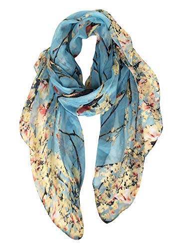 GERINLY - Lightweight Floral Birds Print Shawl Scarf For Christmas Season (Light Blue)
