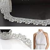 BridalMary Hand Beaded Dress Bridal DIY 1 YD Wedding Sash Applique Silver Craft Lace...