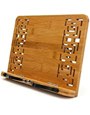 Bamboo Reading Rest Cook Book Document Stand Holder Bookrest Laptop Stand I-pad Stands Holders Cookbook Holder Textbook Stand PC Display Stand Collapsible Adjustable Tray (Hollow Book Stand)
