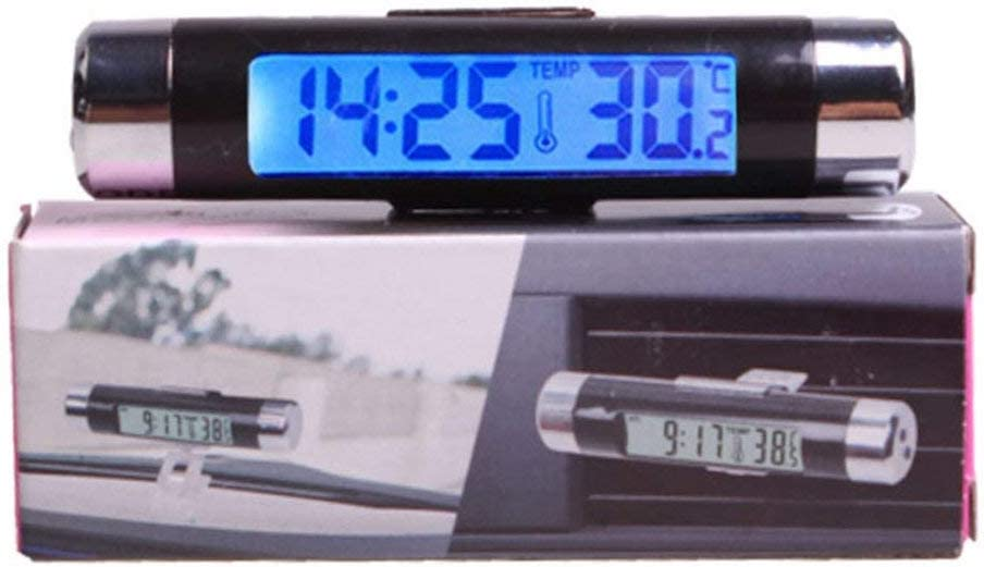 Kongqiabona-UK 2-in-1 KFZ L/üftungsschlitz-Thermometer /& Uhr LCD-Digital-Display Automotive Auto Luft tragbar Clip-on LED-Hintergrundbeleuchtung