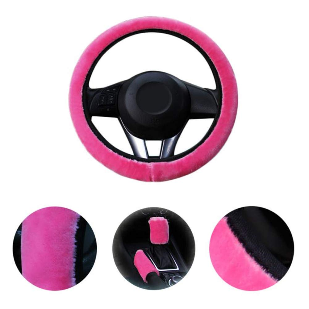 Augoog 3Pcs Winter Warm Plush Steering Wheel Cover Handbrake Cover Gear Shift Cover Car Accessory,Red