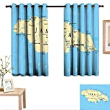 Jamaican Decorative Curtains for Living Room Map of Jamaica Kingston Caribbean Sea Important