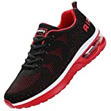 JARLIF Men's Lightweight Athletic Running Shoes Breathable Sport Air Fitness Gym Jogging Sneakers (8.5 D(M) US, BlackRed)