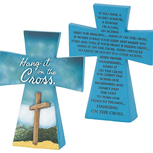 Cross Resin Blue - Dicksons Hang It On The Cross Blue 4 x 5 Resin Double Sided Tabletop Cross