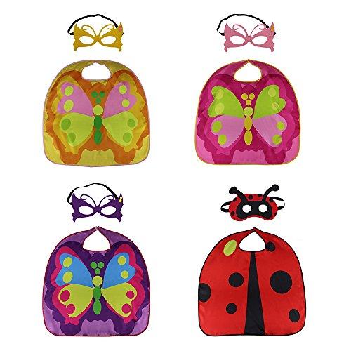 [D.Q.Z Dress Up Costumes - 70cm Kids Childrens Cape & Mask (Set of 4)] (Simple Halloween Masks)