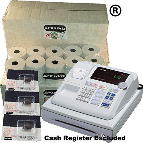eposbits marca® 60rollos + 3x de tinta para Casio 130CR 130CR caja registradora