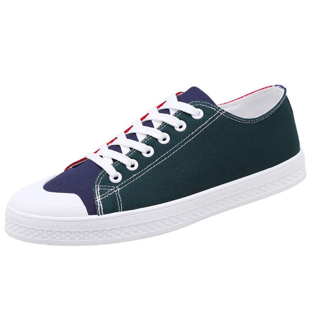 Men's Mixed Colors Canvas Shoes - Breathable Fashion Sneaker Flats Casual Shoes,2019 New Green