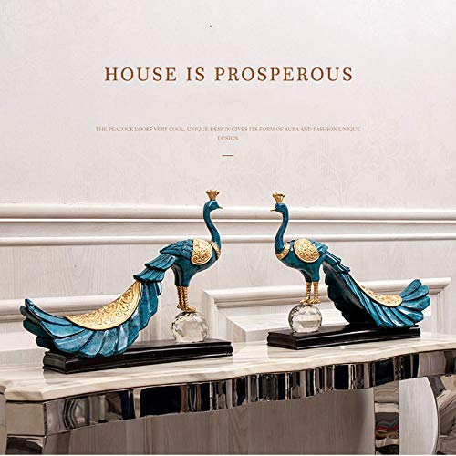 Home Decoration, Hand-Painted Resin Crafts Peacock Ornaments Sculpture Living Room Decorations Nordic Decorative Wine Cabinet Home (Color : 5) by None (Image #7)