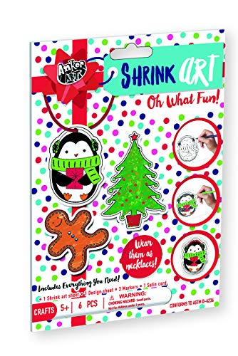 Shrink Art for Christmas DIY Easy Craft Activity Kit for Kids Best Stocking Stuffer or Gift Idea for Holidays! Make Xmas Ornaments, Keychains or Necklace (Oh What Fun) -